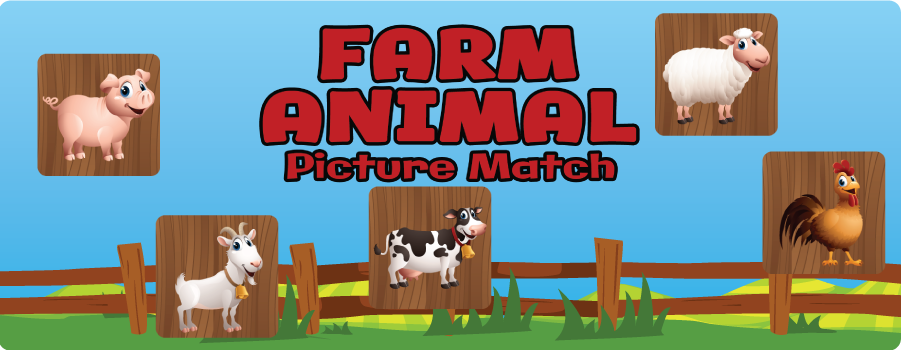 Farm Animal Picture Match Game